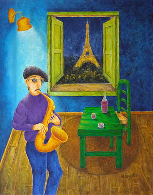 Saxophone Player Painting - Paris Blues by Pamela Allegretto