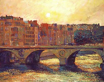 Historic Building Painting - Paris Bridge Over The Seine by David Lloyd Glover