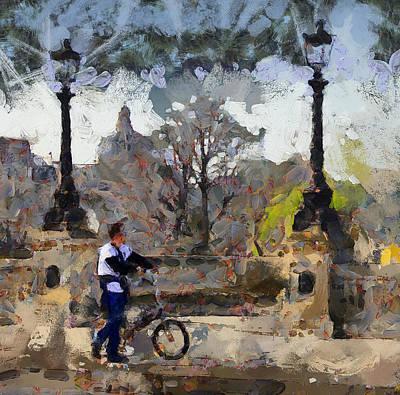 Old Town Digital Art - Paris Byke Tour by Yury Malkov
