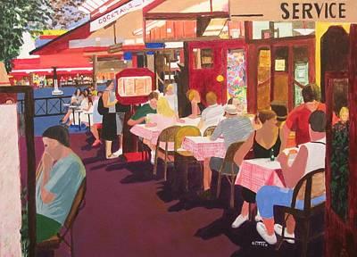 Paris Cafe At Dusk Art Print