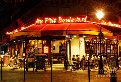 Paris Cafe At Night Art Print by Colin Woods