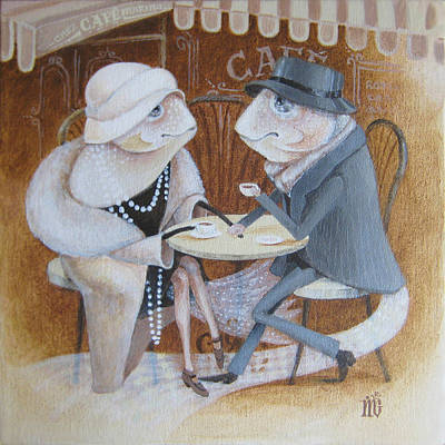 Paris Cafe Art Print by Marina Gnetetsky