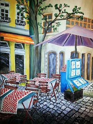 Paris Cafe With Purple Umbrella Original by Irving Starr