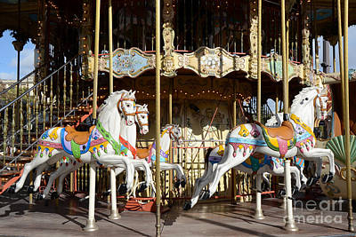 Surreal Paris Decor Photograph - Paris Carousel Horses - Champs Des Mars - Paris Carousel Merry Go Round  by Kathy Fornal