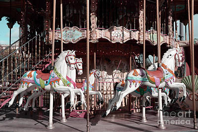 Photograph - Paris Carousel Horses Merry Go Round - Paris Eiffel Tower Carousel Horses Merry Go Round by Kathy Fornal