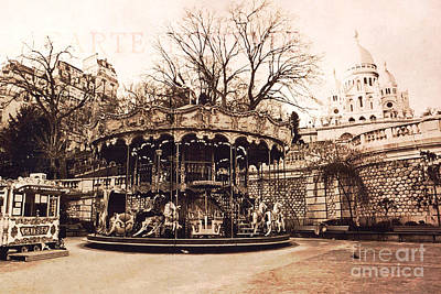 Paris Carousel Merry Go Round Montmartre District - Sepia Carousel At Sacre Coeur  Art Print by Kathy Fornal