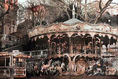 Paris Carousel Merry Go Round Sepia -  Paris Carousel Montmartre District Sacre Coeur Art Print
