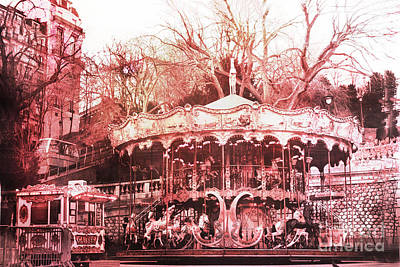 Surreal Pink Carnival Photograph - Paris Carousel Montmartre District Red Carousel by Kathy Fornal