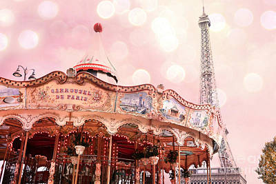Paris Carrousel De Paris - Eiffel Tower Carousel Merry Go Round - Paris Baby Girl Nursery Decor Art Print by Kathy Fornal