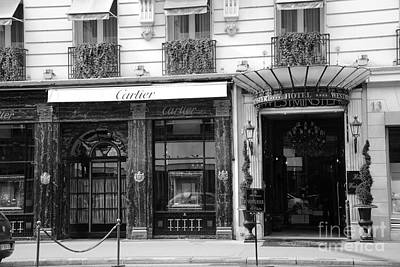 Storefront Photograph - Paris Cartier Black And White Art - Paris Cartier Hotel Westminster Architecture Street Photography by Kathy Fornal