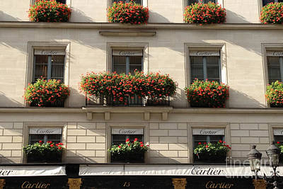 Photograph - Paris Cartier Window Boxes - Paris Cartier Windows And Flower Boxes - Cartier Paris Building  by Kathy Fornal