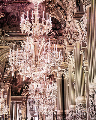 Paris Chandelier Photography - Paris Opera House Opulent Sparkling Crystal Chandeliers Art Print by Kathy Fornal