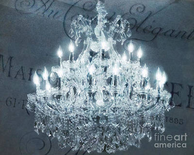 Photograph - Paris Chandelier Slate Blue Crystal Chandelier - Elegant French Crystal Chandelier Sparkling Lights by Kathy Fornal