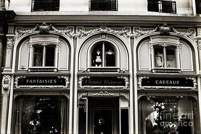 Vintage Architecture Photograph - Paris Chantel Thomass French Luxury Lingerie - Paris Architecture Black White Lingerie Boutique by Kathy Fornal