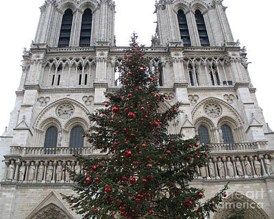 Red And Green Photograph - Paris Christmas Photography - Notre Dame Cathedral Christmas Tree - Paris At Christmas by Kathy Fornal