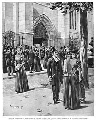 American City Scene Drawing - Paris Church, 1890 by Granger