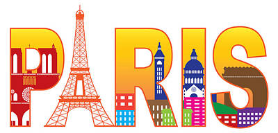 Paris Skyline Royalty-Free and Rights-Managed Images - Paris City Eiffel Tower Silhouette Text Color Illustration by Jit Lim