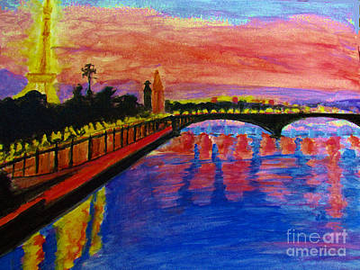 Paris City Of Lights At Dusk Art Print