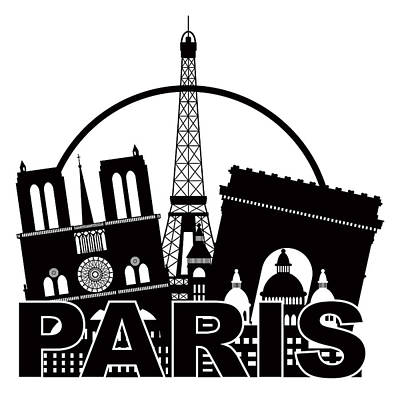 Paris Skyline Royalty-Free and Rights-Managed Images - Paris City Skyline Silhouette Circle Black and White Illustratio by Jit Lim