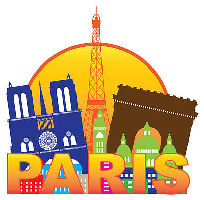 Paris Skyline Royalty-Free and Rights-Managed Images - Paris City Skyline Silhouette Circle Color Illustration by Jit Lim