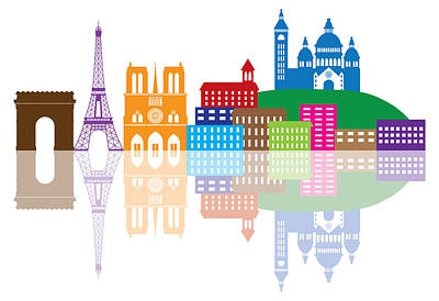 Paris Skyline Royalty-Free and Rights-Managed Images - Paris City Skyline Silhouette Color Illustration by Jit Lim