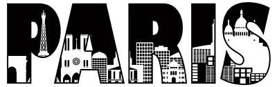 Paris Skyline Royalty-Free and Rights-Managed Images - Paris City Skyline Text Outline Illustration by Jit Lim