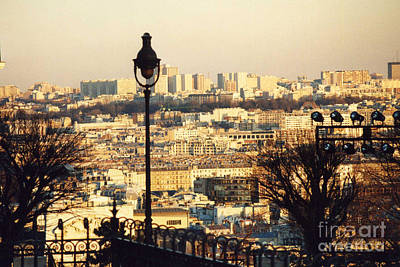 Paris Cityscape Sunset Panoramic View - Paris At Sunset Dusk - Paris City Of Light Aerial View Photo Print by Kathy Fornal