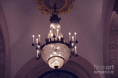 Photograph - Paris Crystal Chandelier Lavender Mauve Sparkling Chandelier Art Deco - Paris Crystal Chandeliers by Kathy Fornal
