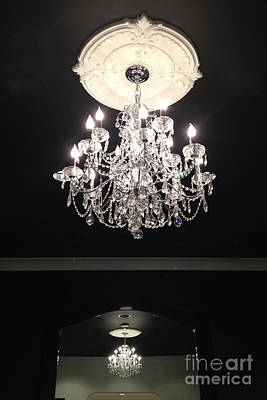 Crystal Chandelier Photograph - Paris Crystal Chandelier - Paris Black And White Chandelier - Sparkling Elegant Chandelier Opulence  by Kathy Fornal