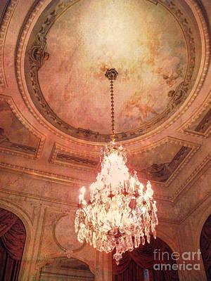 Paris Crystal Chandelier - Paris Hotel Regina Art Deco Sparkling Chandelier Opulence Illumination Art Print by Kathy Fornal