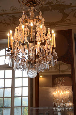 Photograph - Paris Crystal Chandelier - Paris Rodin Museum Chandelier - Sparkling Crystal Chandelier Reflection by Kathy Fornal