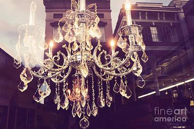 Paris Crystal Chandelier Sparkling Lights - Golden Paris Chandelier Window Reflections Art Print by Kathy Fornal