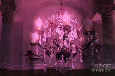 Crystal Chandelier Photograph - Paris Dark Pink Sparkling Crystal Chandelier Haunting Dark Pink Purple Plum Chandelier Art Deco  by Kathy Fornal