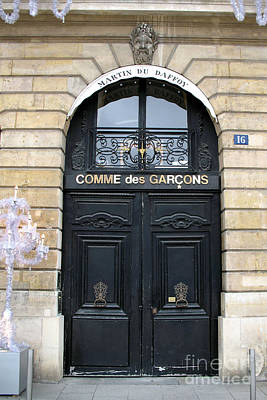 Paris Door Art - Paris Black And Gold Door Architecture - Paris Mens Clothing Shop Door Art Print by Kathy Fornal