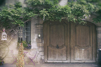 Paris Door With Wisteria Print by Georgia Fowler