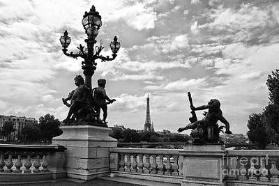 Photograph - Pont Alexandre IIi Bridge - Black And White by Carol Groenen