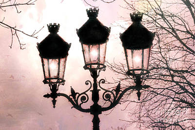 Photograph - Paris Dreamy Baby Pink Street Lamps - Paris Pastel Shabby Chic Pink Street Lanterns Fine Art Photos by Kathy Fornal