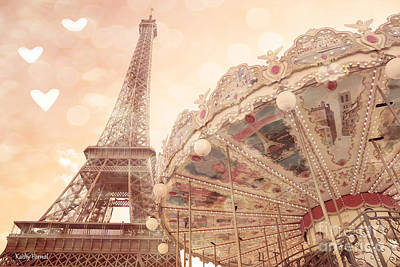 Paris Dreamy Eiffel Tower And Carousel With Hearts - Paris Sepia Eiffel Tower And Carousel Photo Art Print by Kathy Fornal
