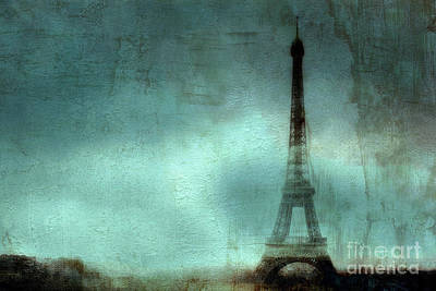 Paris Dreamy Eiffel Tower Teal Aqua Abstract Art Photo - Paris Eiffel Tower Painted Photograph Print by Kathy Fornal
