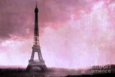 Paris Dreamy Pink Eiffel Tower Abstract Art - Romantic Eiffel Tower With Pink Clouds Print by Kathy Fornal