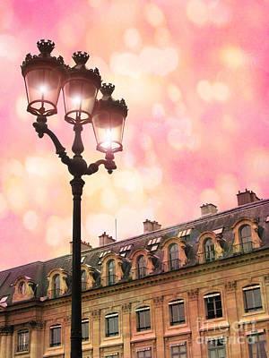 Fantasy Paris Photograph - Paris Dreamy Pink Surreal Place Vendome Sparkling Street Lamps - Paris Lanterns Architecture by Kathy Fornal