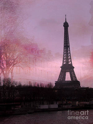 Paris Dreamy Romantic Paris Eiffel Tower Pink Architecture Eiffel Tower Photo Montage Art Print by Kathy Fornal