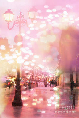 Paris Dreamy Holiday Street Lanterns Lamps - Paris Christmas Holiday Street Lanterns Lights Bokeh Print by Kathy Fornal