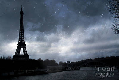 Paris Eiffel Tower Blue Starlit Night Sky Scene Print by Kathy Fornal
