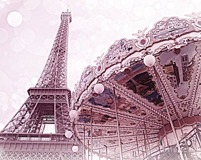 Paris Photograph - Paris Eiffel Tower Carousel Merry Go Round Photos - Paris Dreamy Lavender Pink Eiffel Tower Carousel by Kathy Fornal