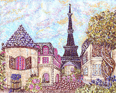 Paris Skyline Royalty-Free and Rights-Managed Images - Paris Eiffel Tower Skyline inspired pointillist landscape by Kristie Hubler