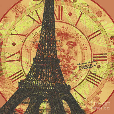 Greens Golds And Pinks Mixed Media - Paris Eiffel Tower Mixed Clock Wall by Art World