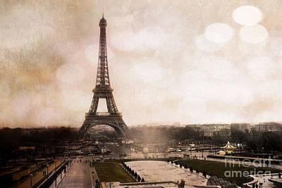 In Sepia Photograph - Paris Eiffel Tower Sepia Bokeh Art - Paris Dreamy Sepia Eiffel Tower Landscape by Kathy Fornal