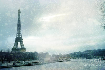 Paris Eiffel Tower Winter Snow - Paris In Winter - Paris Eiffel Tower Winter Fog Landscape Print by Kathy Fornal