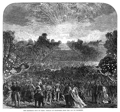 Fireworks Display Painting - Paris Emperor's Fete, 1868 by Granger